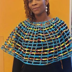 Tie&Dye Webbed shawl/Cape/Bib